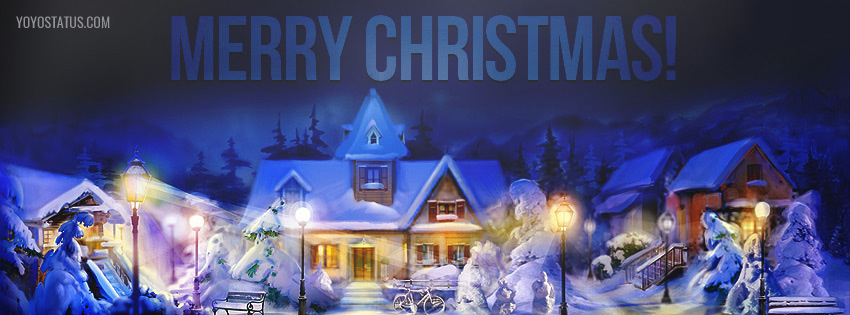 beautiful snowy merry christmas facebook cover