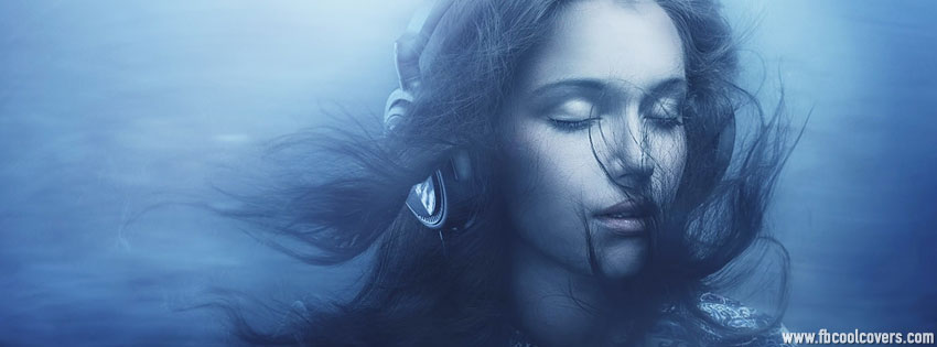 Girl with Headphones Facebook Cover