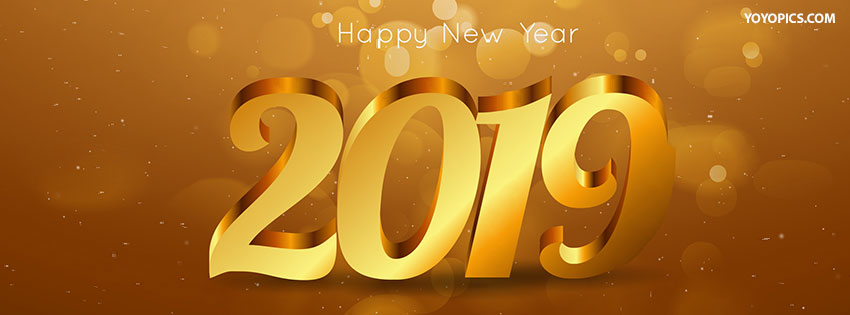 golden happy new year 2019 cover for facebook